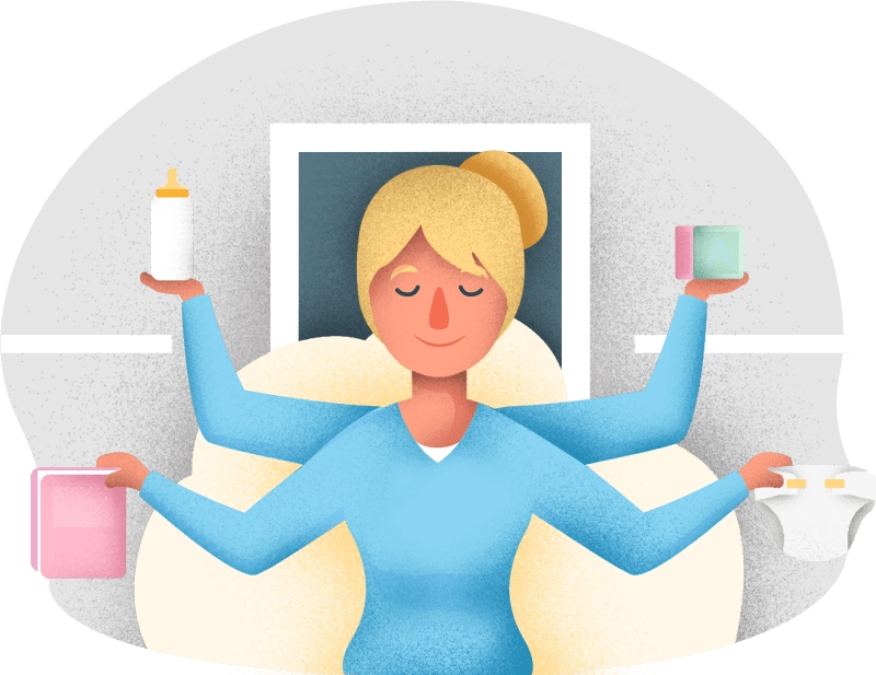 babysitter, nurse or nanny multitasking in charge of Newborn Care