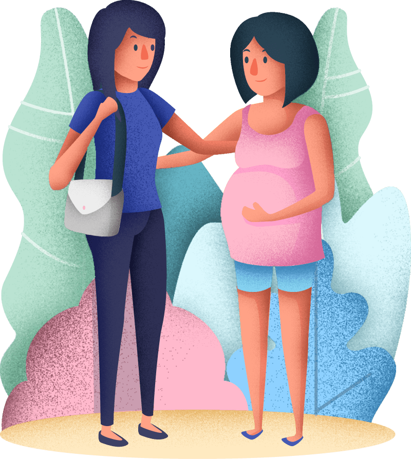 Pregnant woman with nurse, nanny, babysitter or newborn care